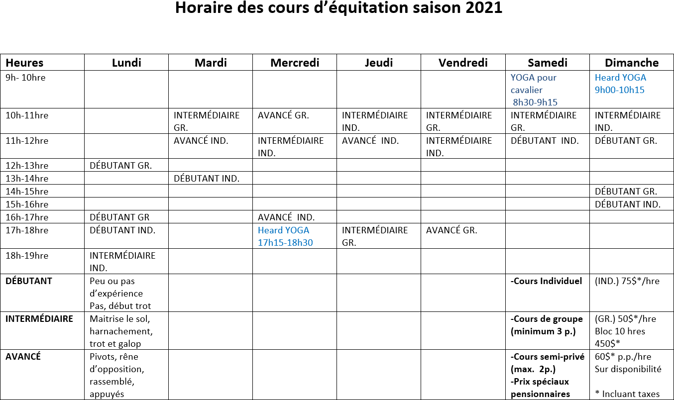 Horaire 2021